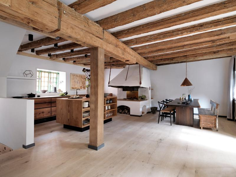 Farm inspired kitchen with wooden beams