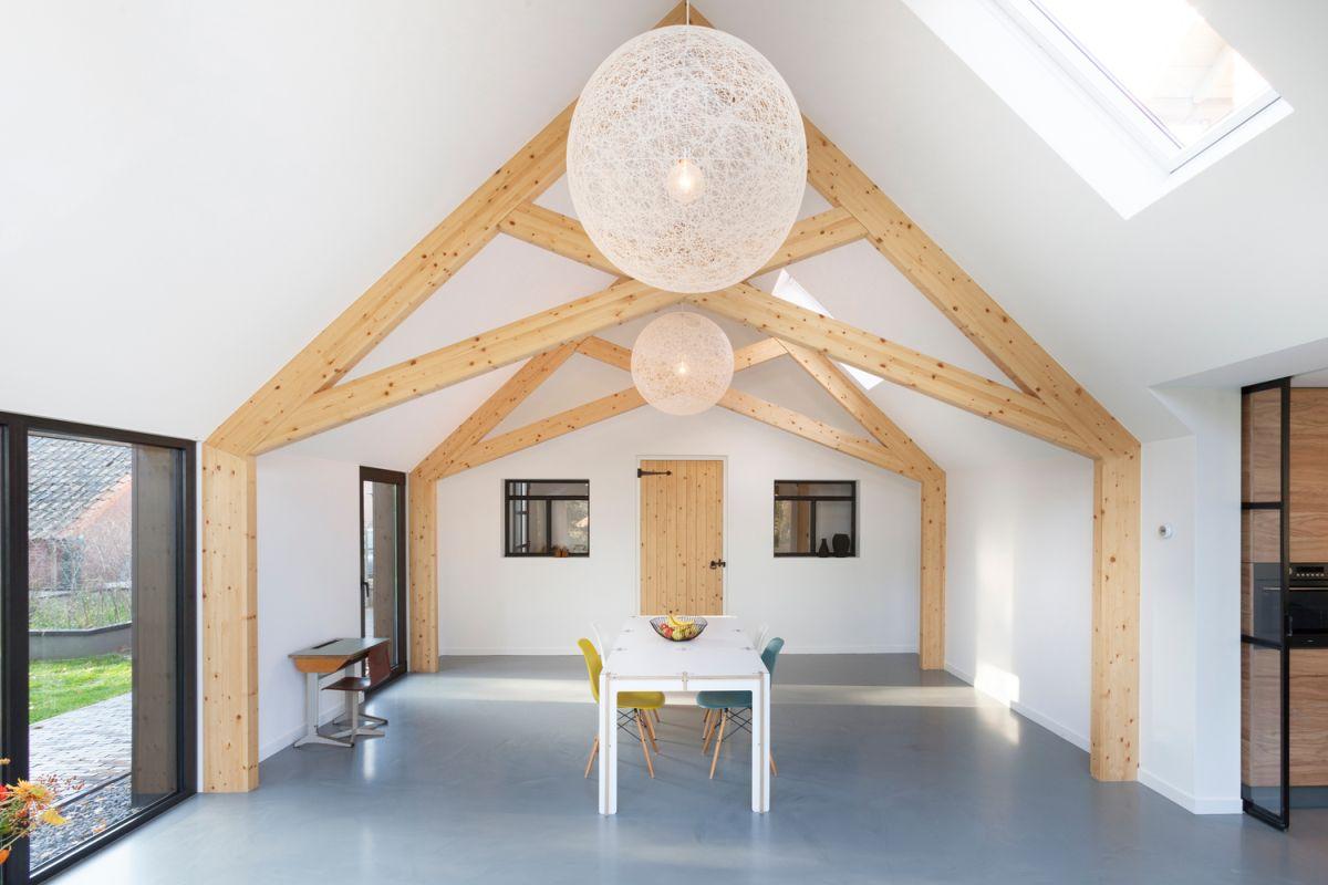 Farmhouse renovation by Bureau Fraai barn light interior