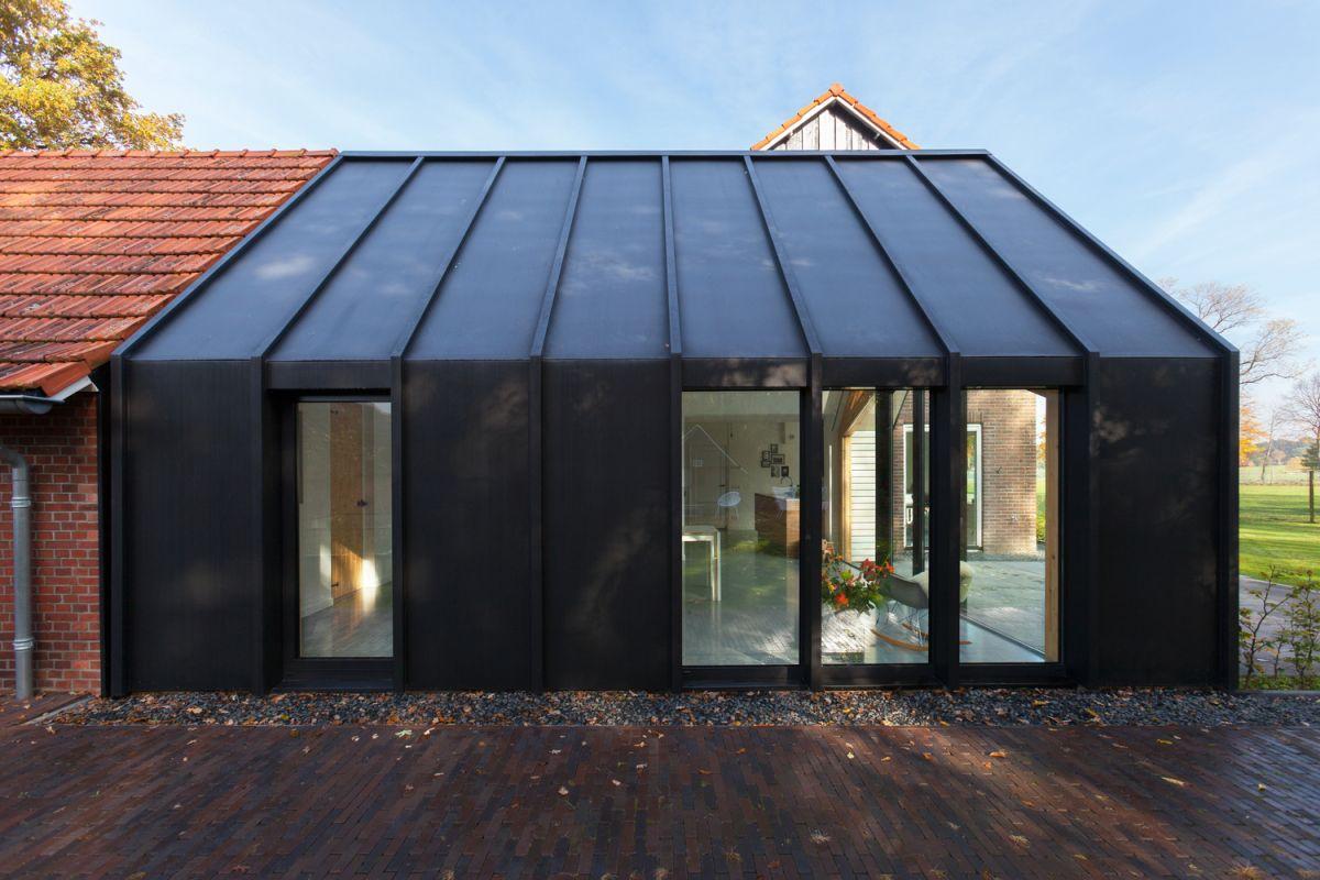 Farmhouse renovation by Bureau Fraai batn extension facade