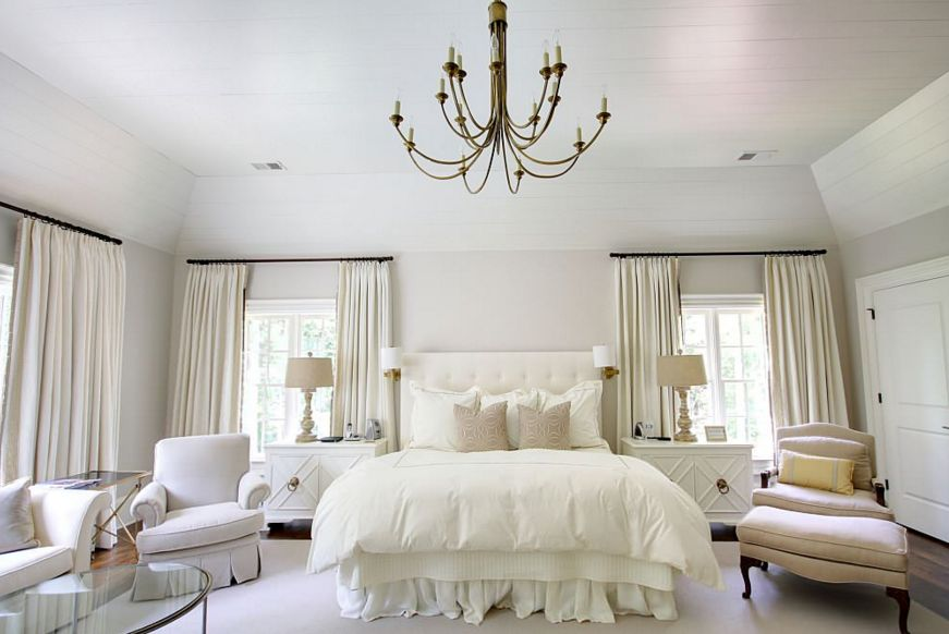 all white bedroom ideas. feminine inspired bedroom with a brass chandelier all white ideas e