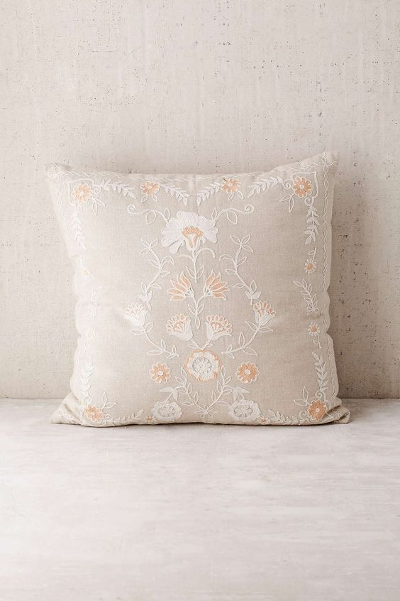 Folk floral throw pillow