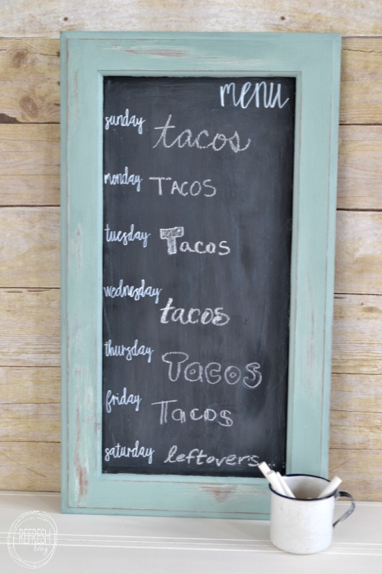 Framed menu chalkboard - washed paint for frame