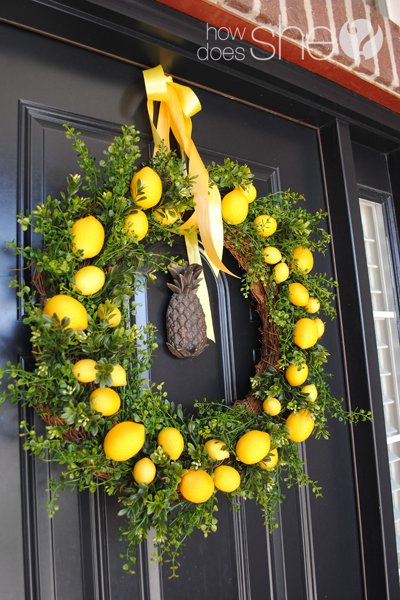 Fresh lemon on wreath for spring