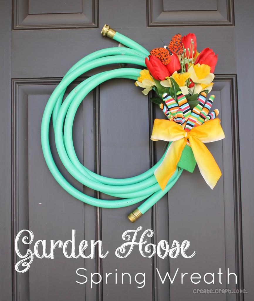 Garden hose spring wreath