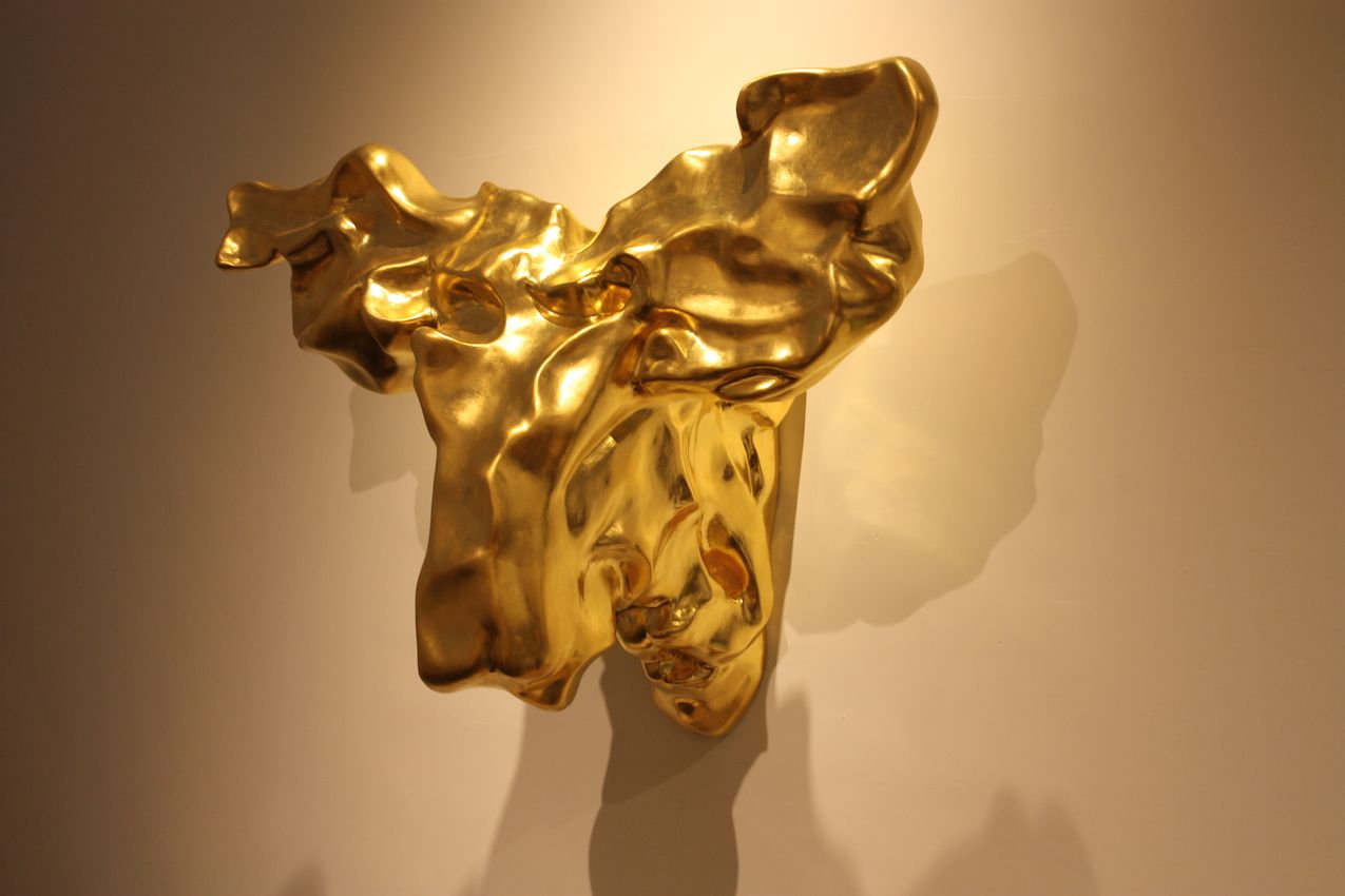 Gold moose head