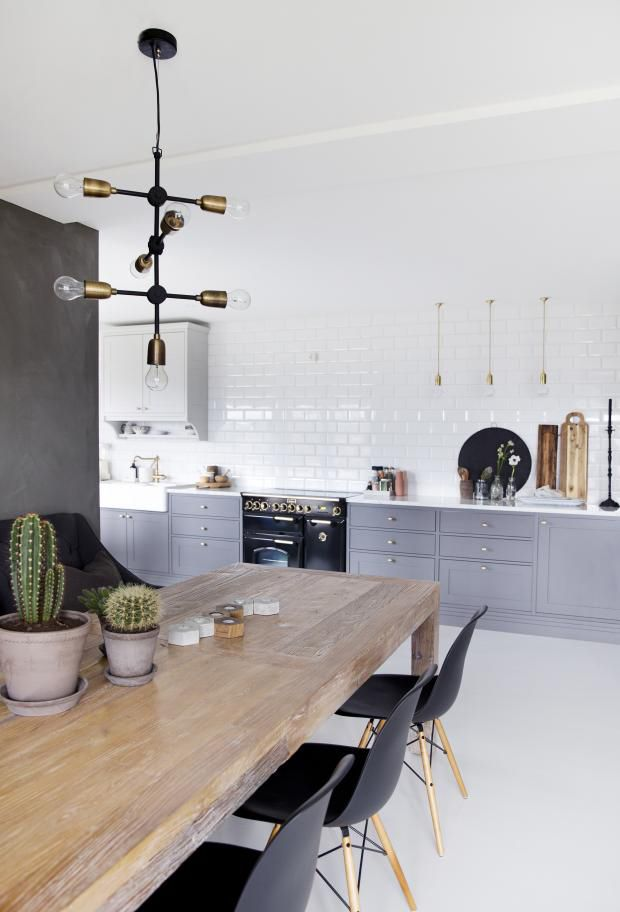 Gray shades and white subway tiles
