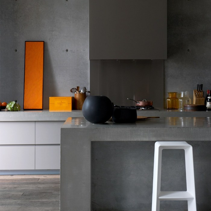 Grey concrete kitchen design