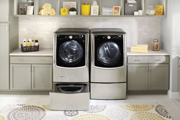 Grey laundry room