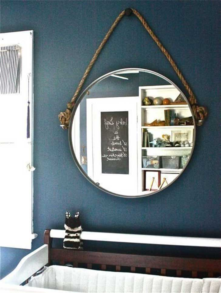 Hang mirror with rope for a nautical feel