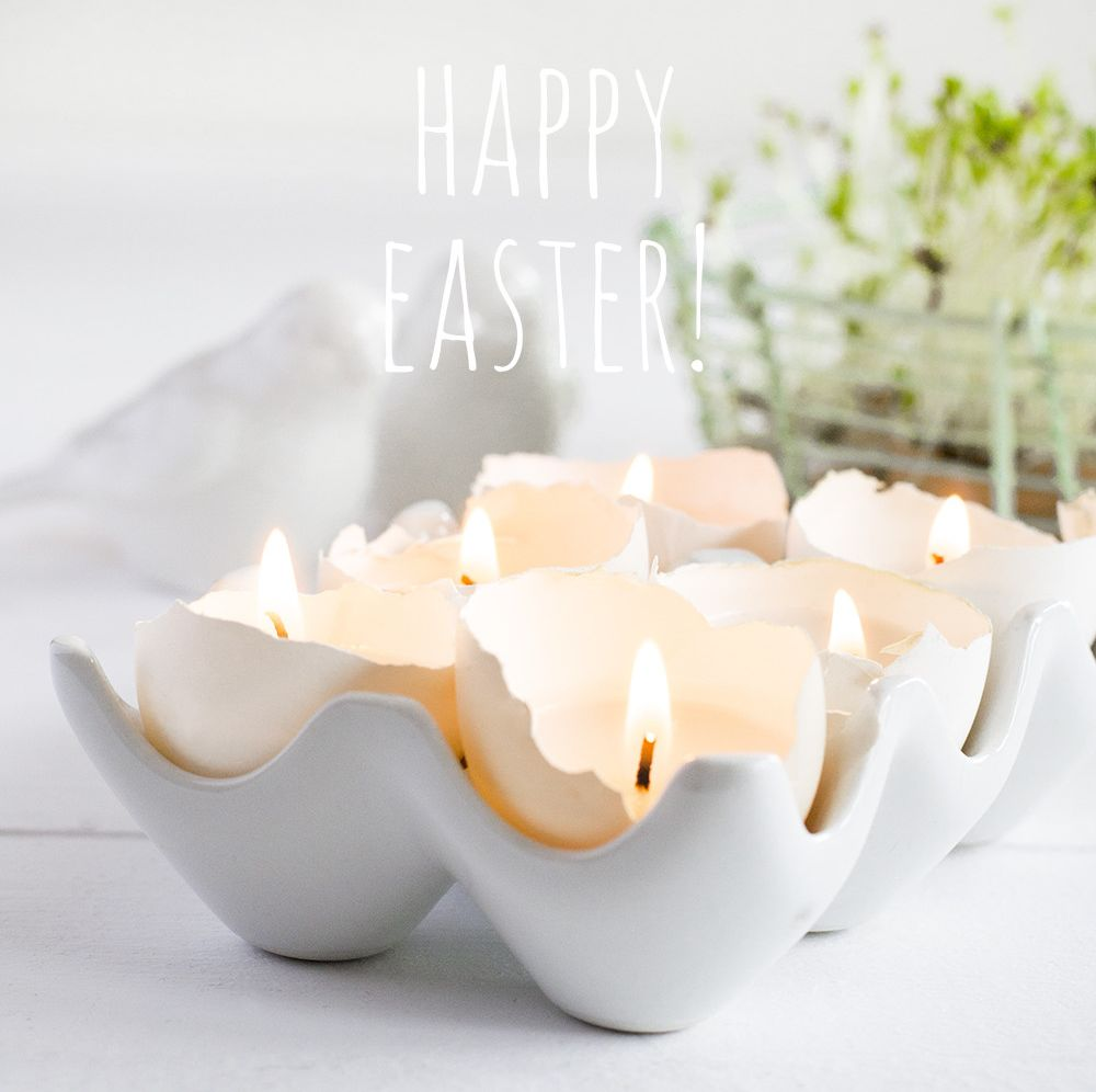 Happy Easter Egg Shells Candle