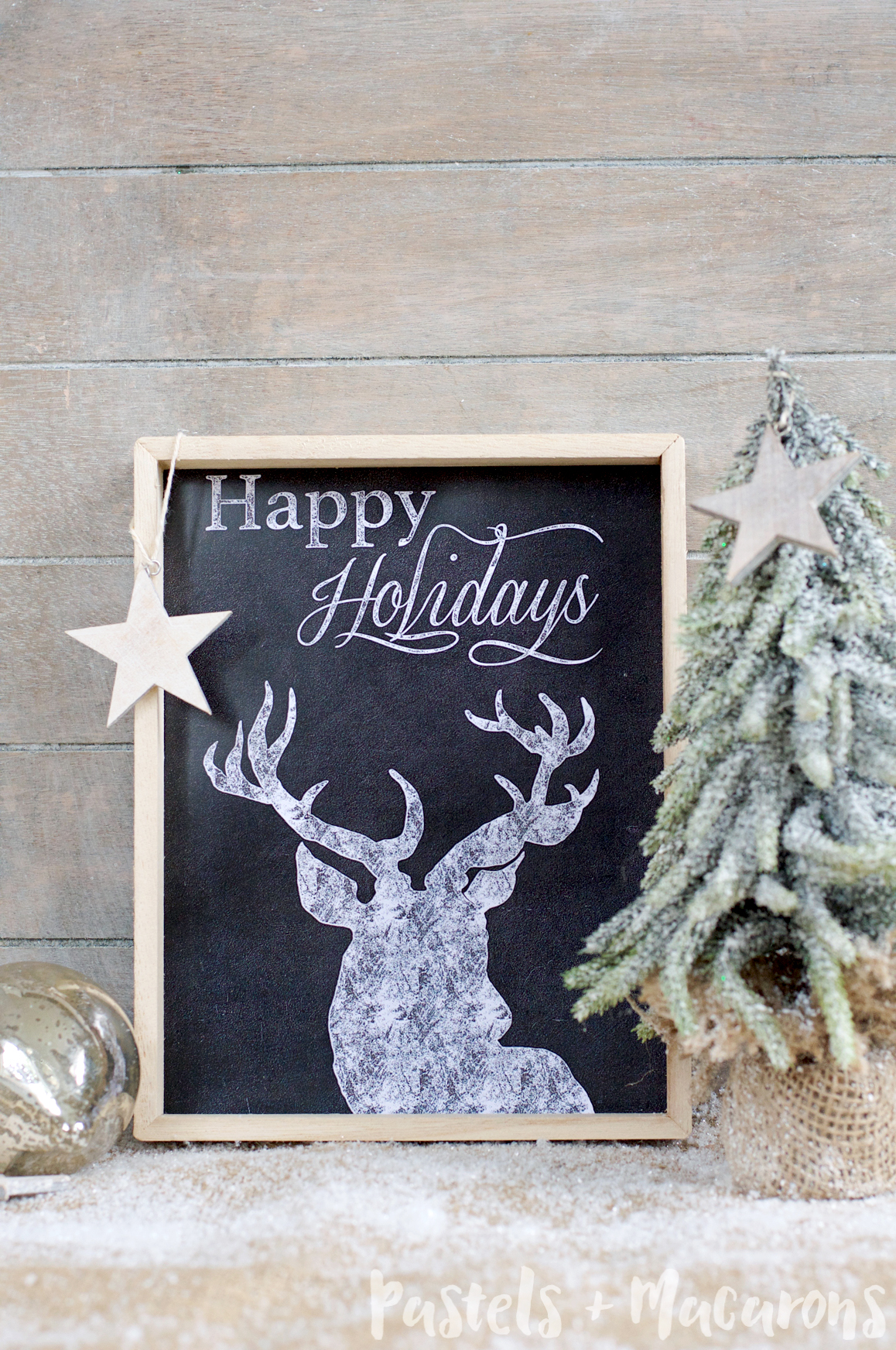 Happy Holidays Chalkboard Framed