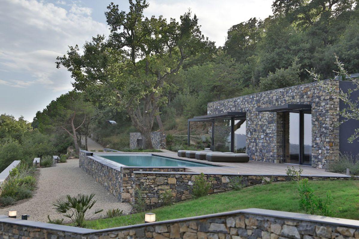 Hillside home overlooks the expansive valley below for Pool design hillside