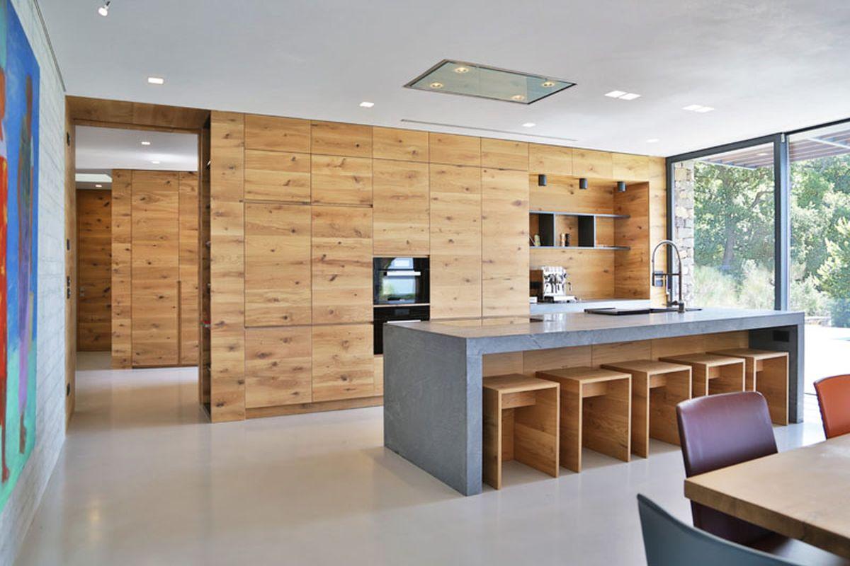 Hillside villa in Liguria interior kitchen storage wall
