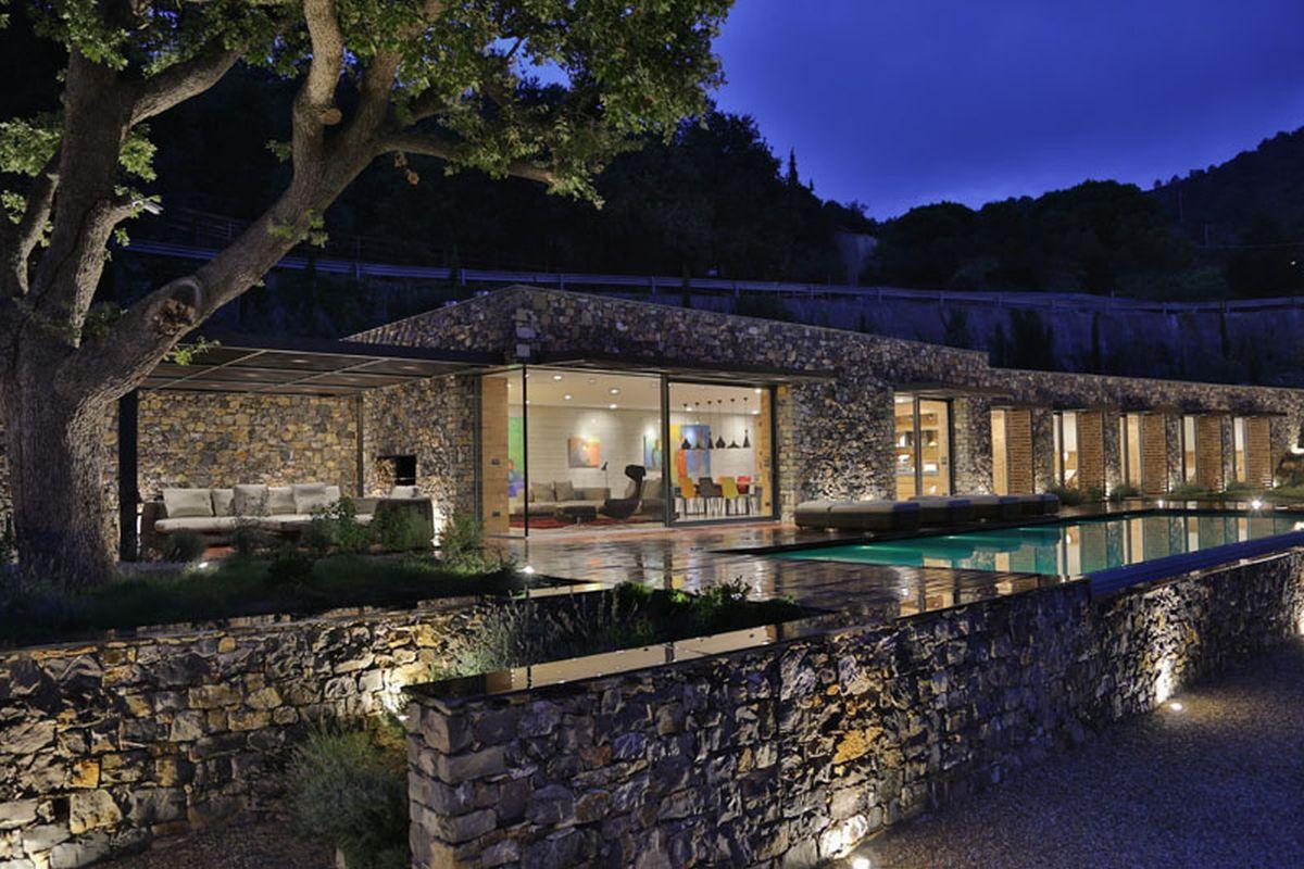 Hillside villa in Liguria outdoors light up at night