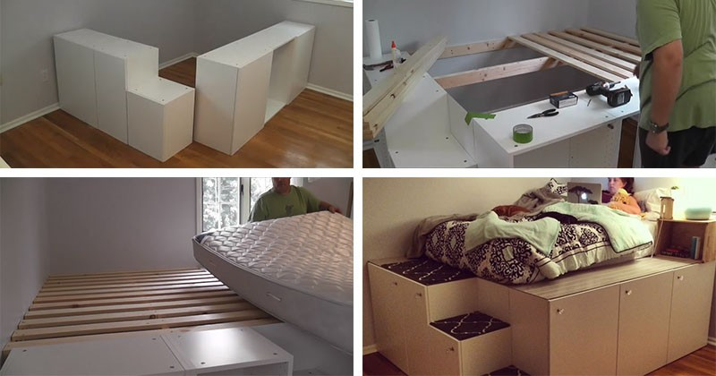 Ikea kitchen cabinets into a platform bed
