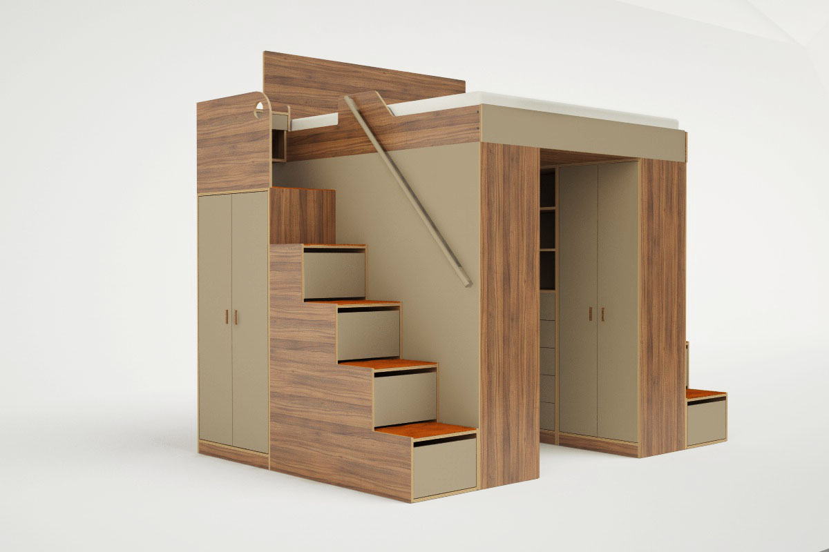 King loft bed system angle & Clever Bed Designs With Integrated Storage For Max Efficiency