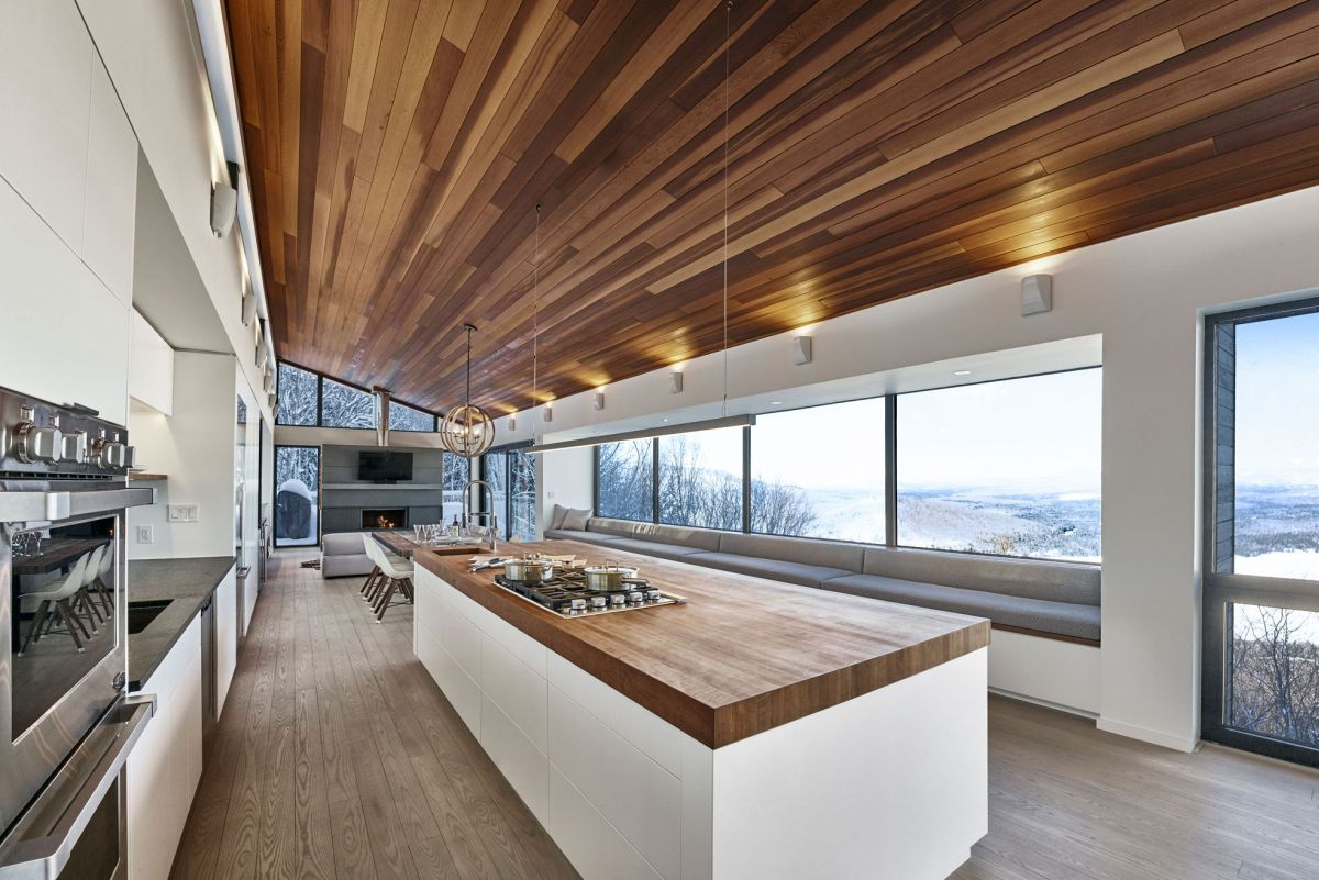 Modern ski chalet in quebec serves as the ideal family retreat for Kitchen designs bloxburg