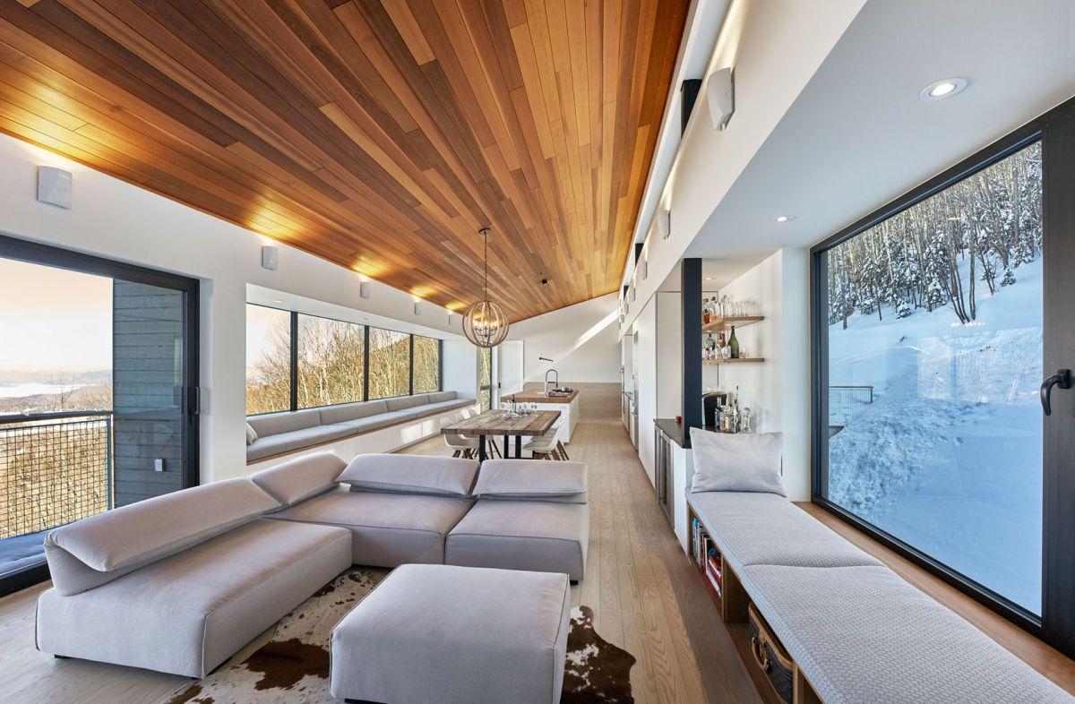 Laurentian ski chalet living room seats