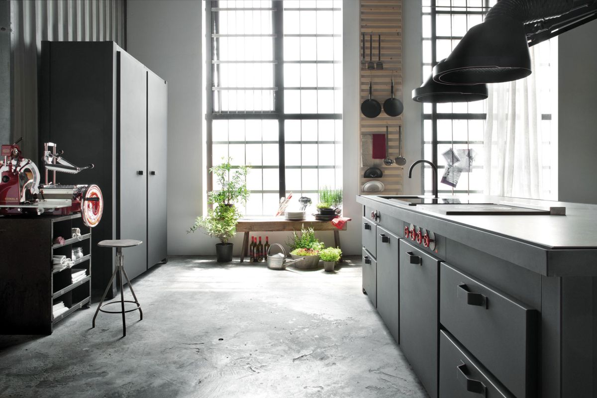 Loft Micassiolo in Milan kitchen and concrete floor