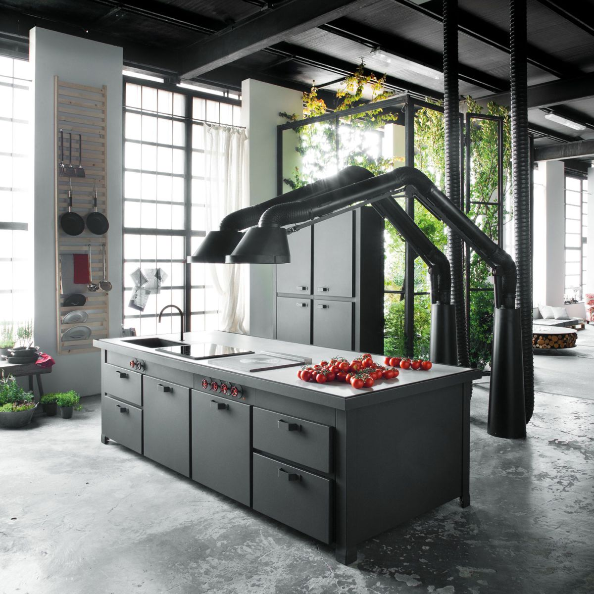 Loft Micassiolo in Milan kitchen island