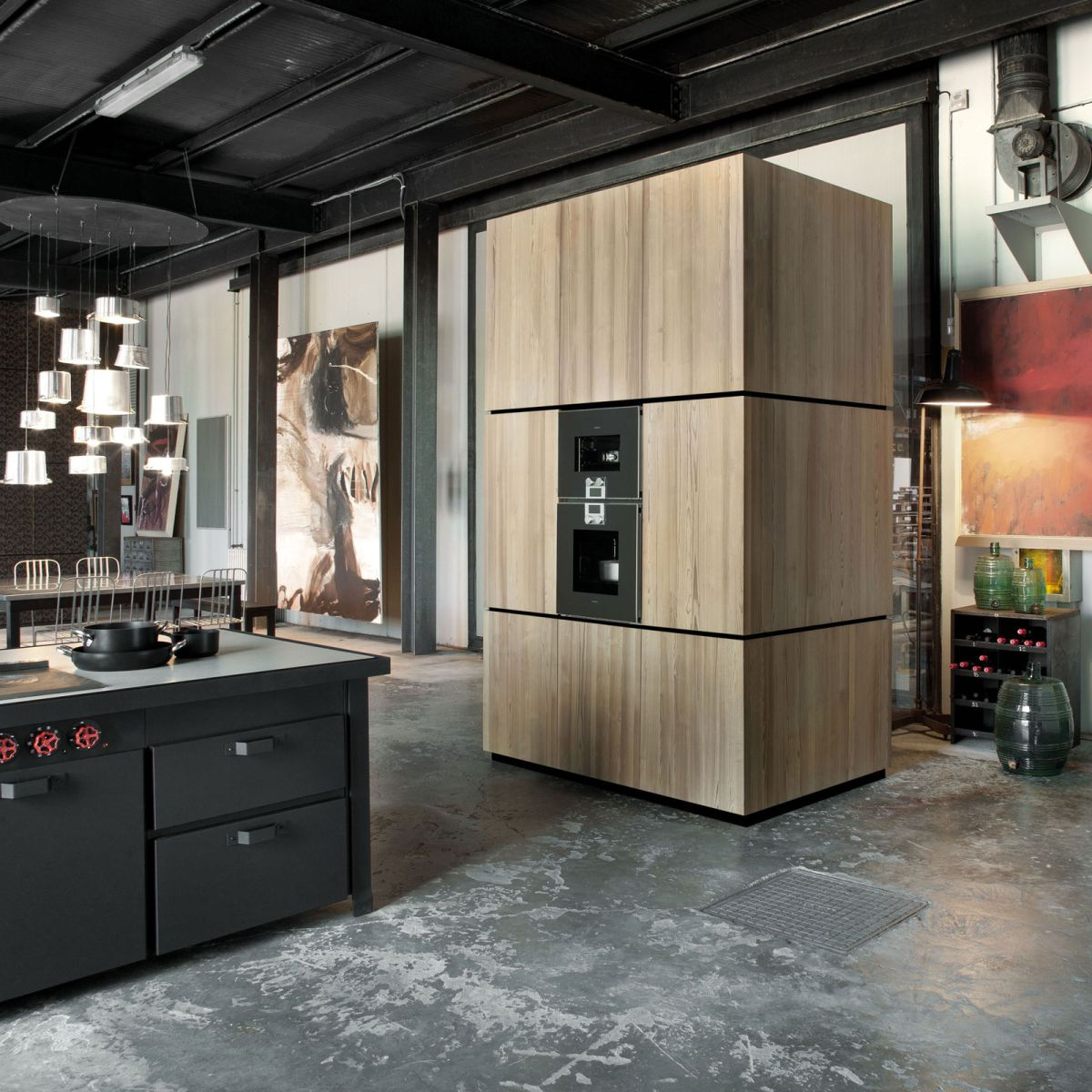 Loft Micassiolo in Milan wood cabinet