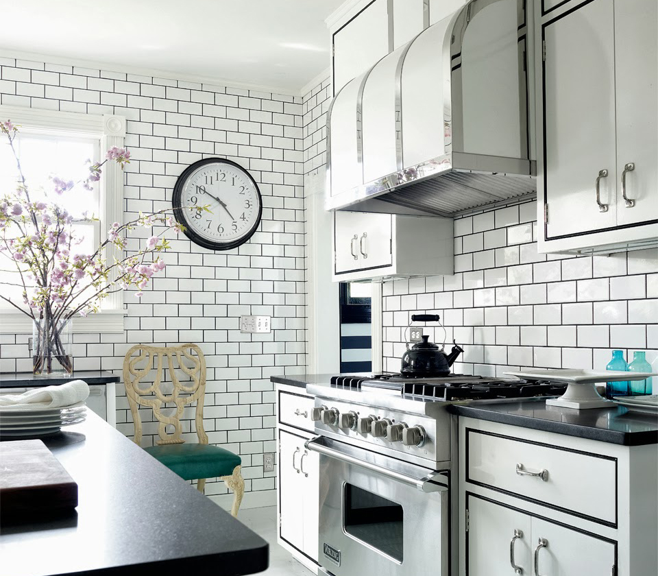 Dress your kitchen in style with some white subway tiles make a contrast with subway tiles dailygadgetfo Choice Image