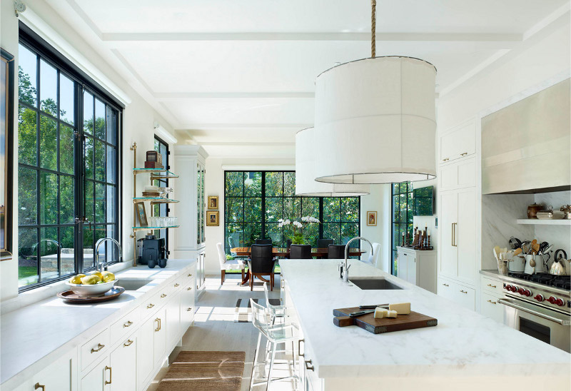 Marble kitchen countertop with a white design