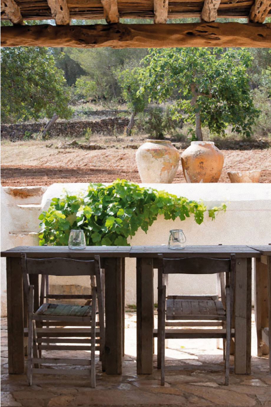 Modern Finca Can Basso transformation outdoor dining on terrac