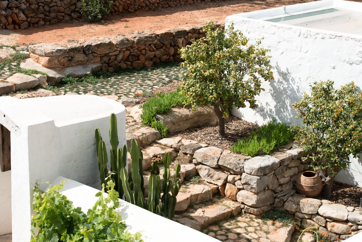 Modern Finca Can Basso transformation stone stairs outside