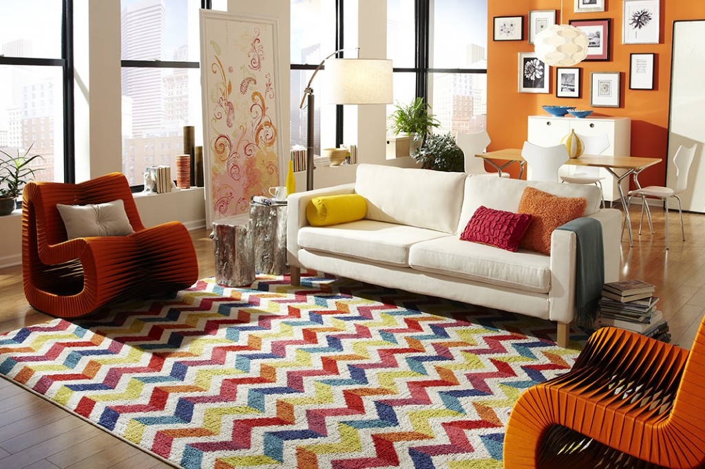 Multicolored chevron rug