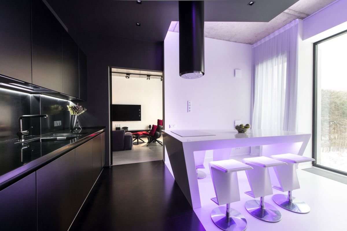 Neon Apartment in Moscow kitchen black and white contrast
