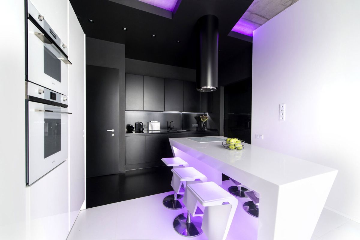 Neon Apartment in Moscow kitchen black and white