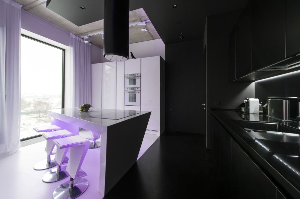 Neon Apartment in Moscow kitchen neon light