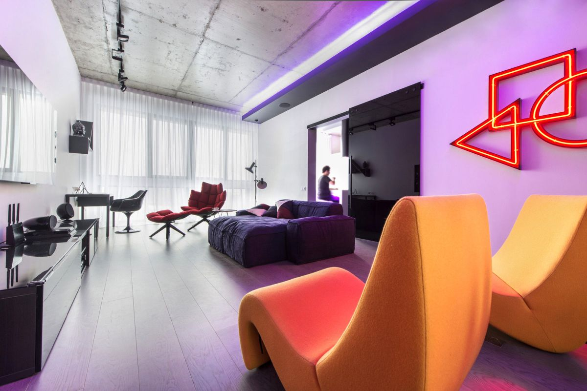 lights for the living room neon lights add color and uniqueness to a moscow apartment 23584