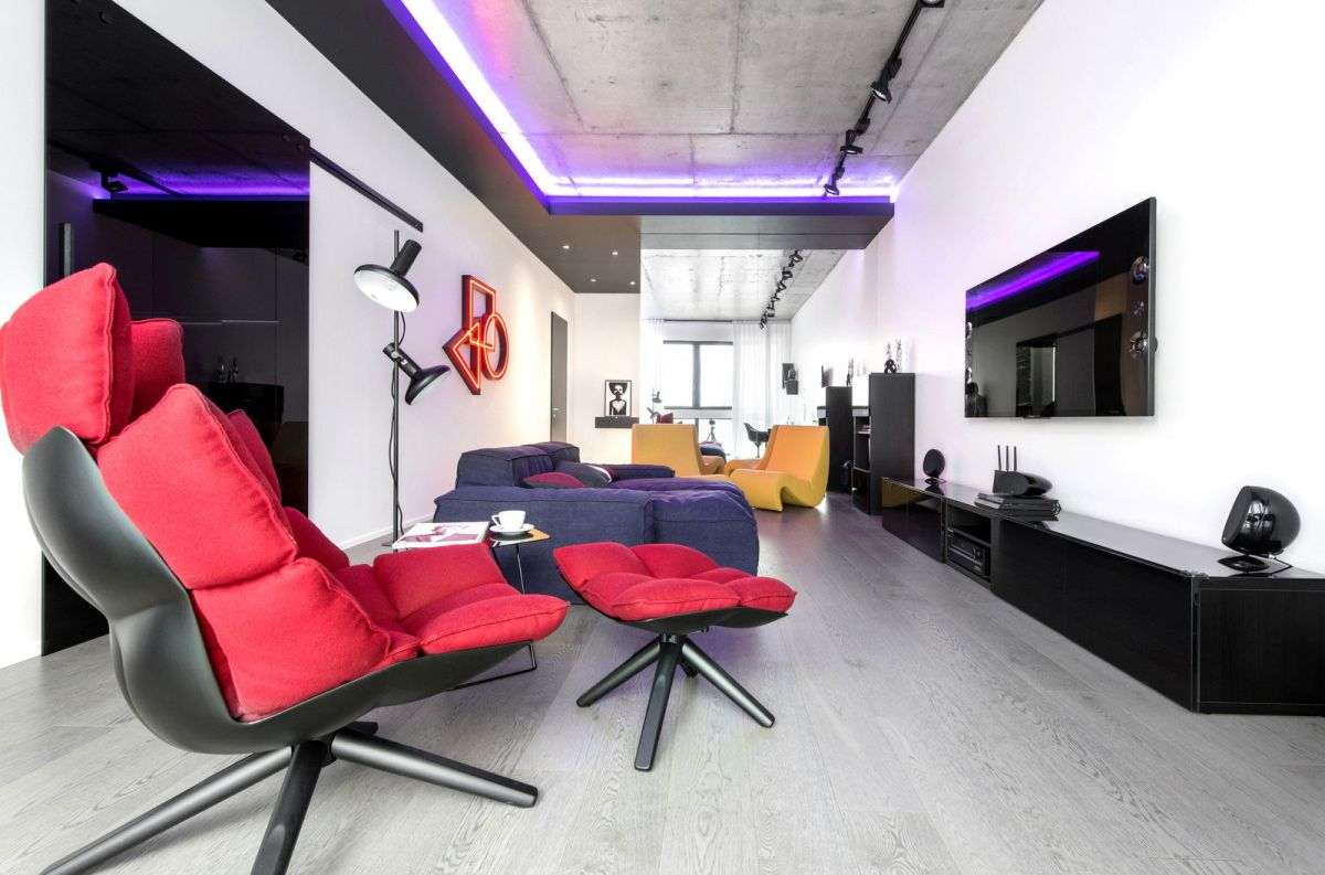 Neon Apartment in Moscow living room red accent