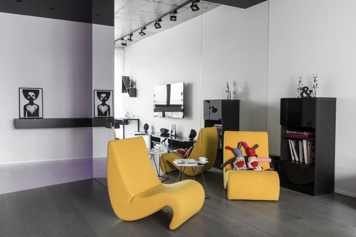 Neon Apartment in Moscow living room yellow accent chairs