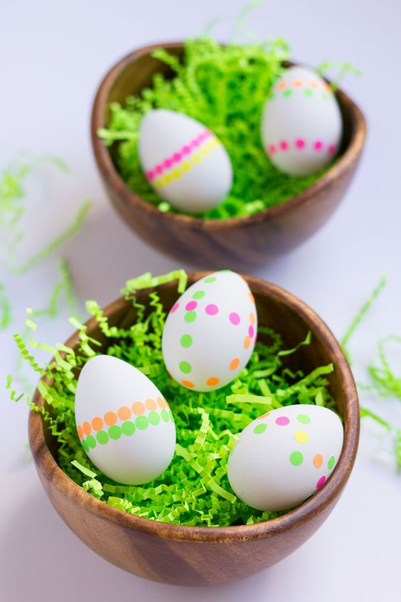 Neon polka dot eggs