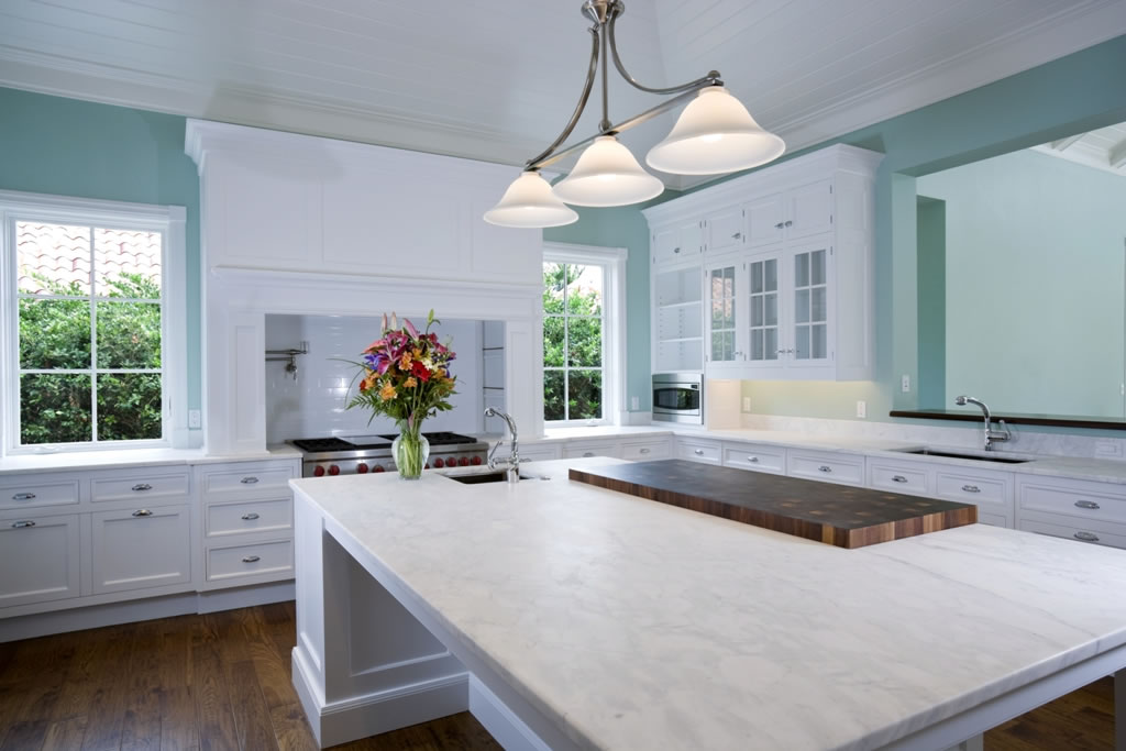 Open E Kitchen With White Quartz Countertops