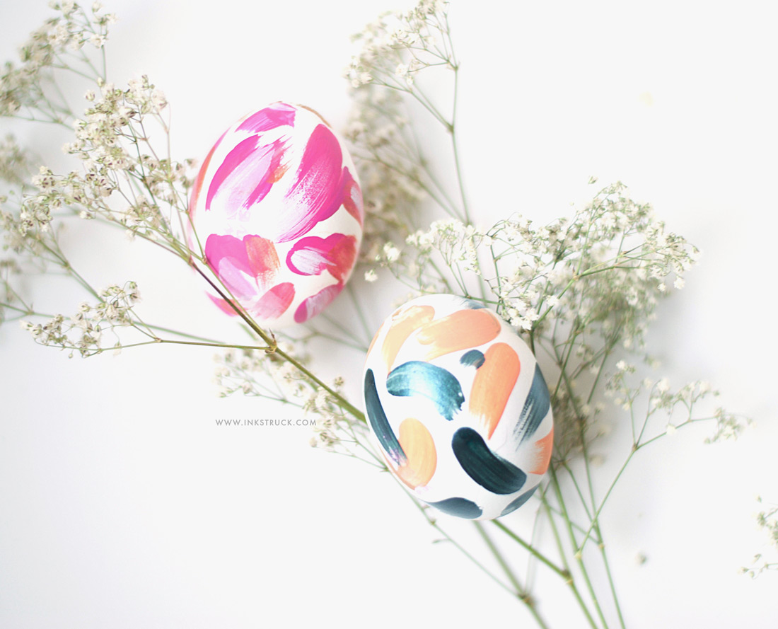 Painted abstract easter eggs