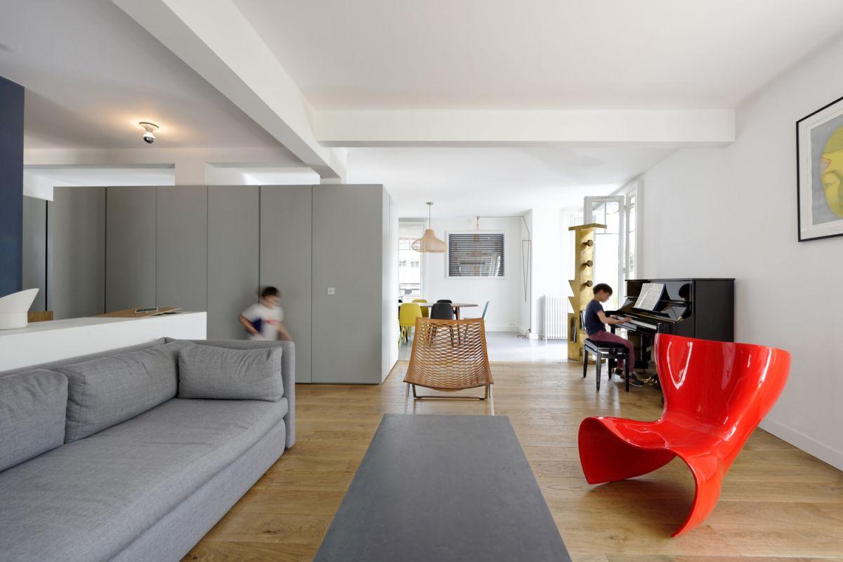 Paris Maisonette Unifies Two Apartments Living Area Red Chait