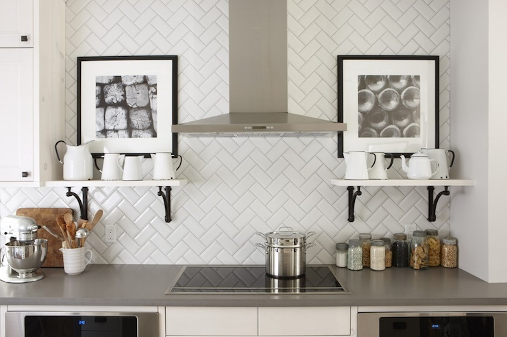 Patterned subway tiles for kitchen