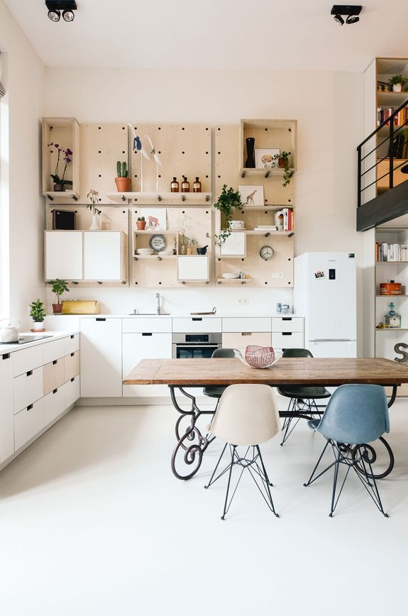 Pegboard furniture for kitchen