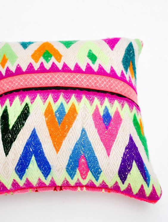 Peruvian embroidered throw pillow