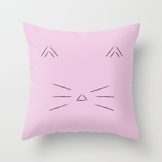Pink cat throw pillow