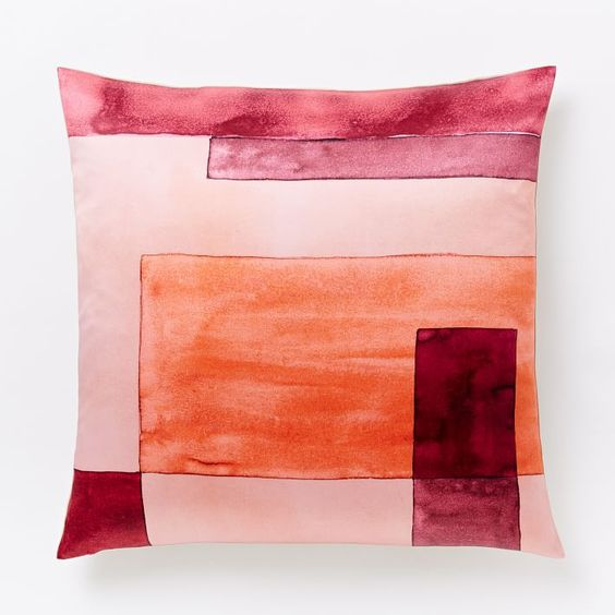 Pink colorblock throw pillow