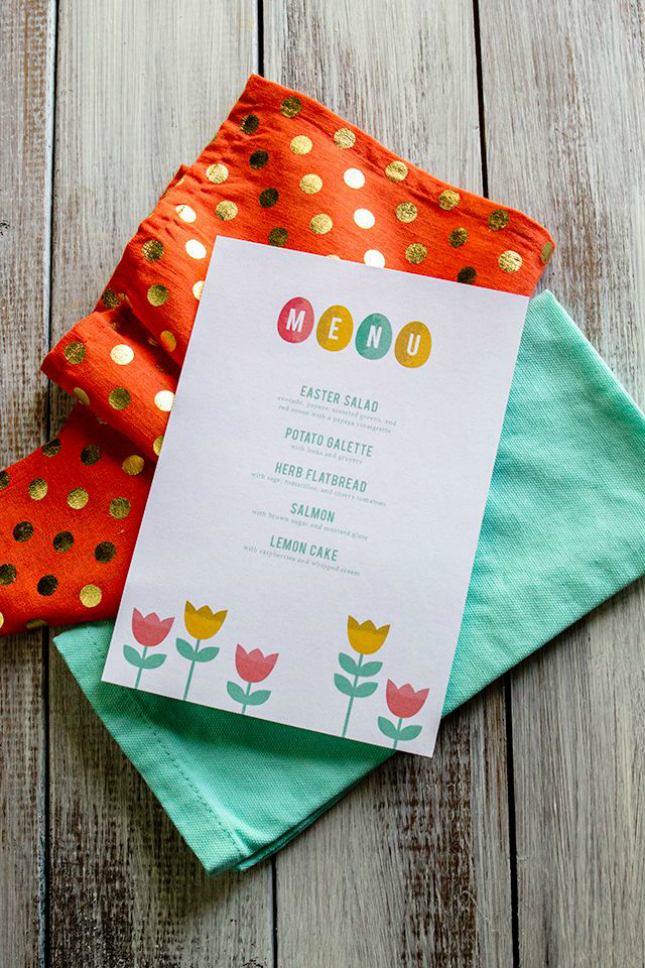 Printable easter menu