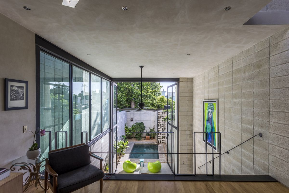 Raw House in Yucatan pool viewed from top floor