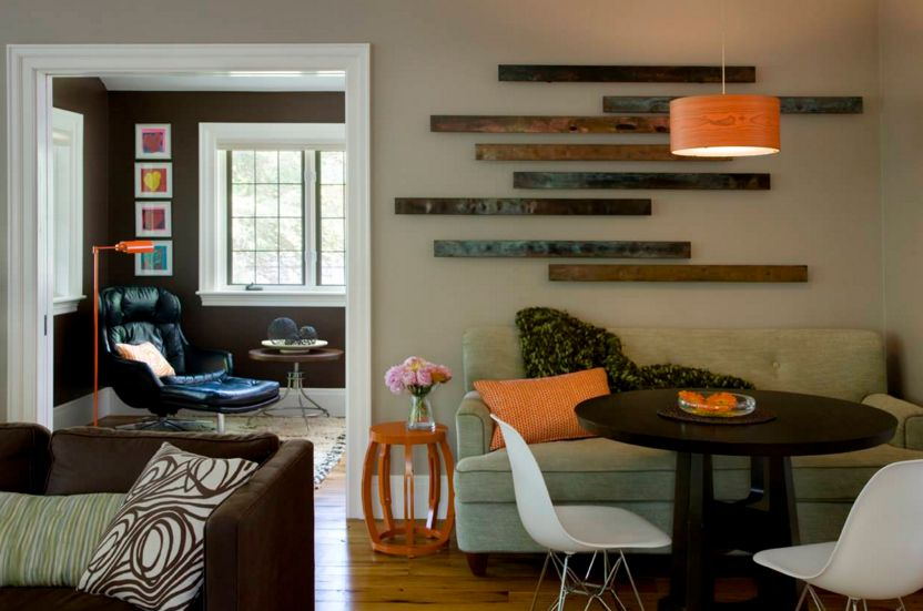 Reclaimed wood stripes wall art