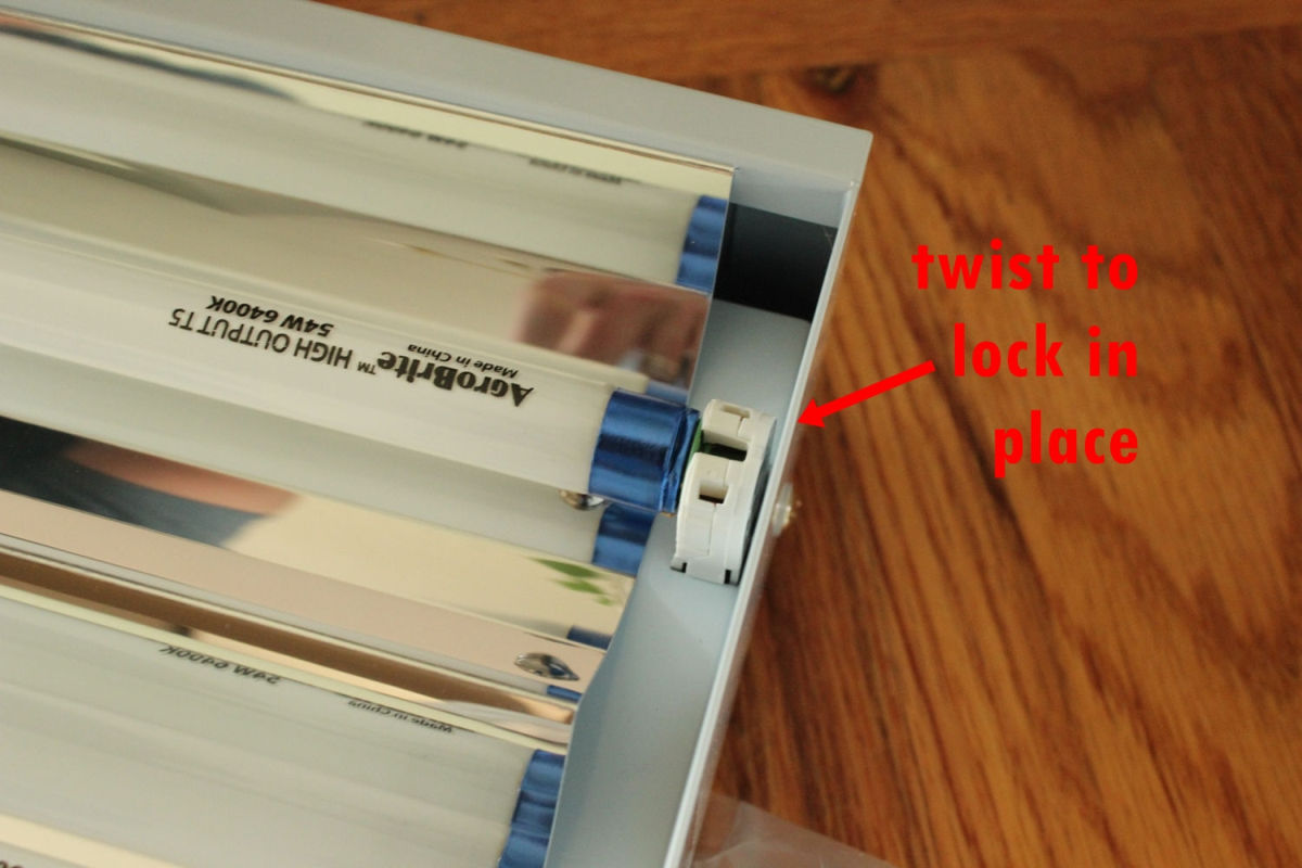 Replace the bulb by sliding the metal pins