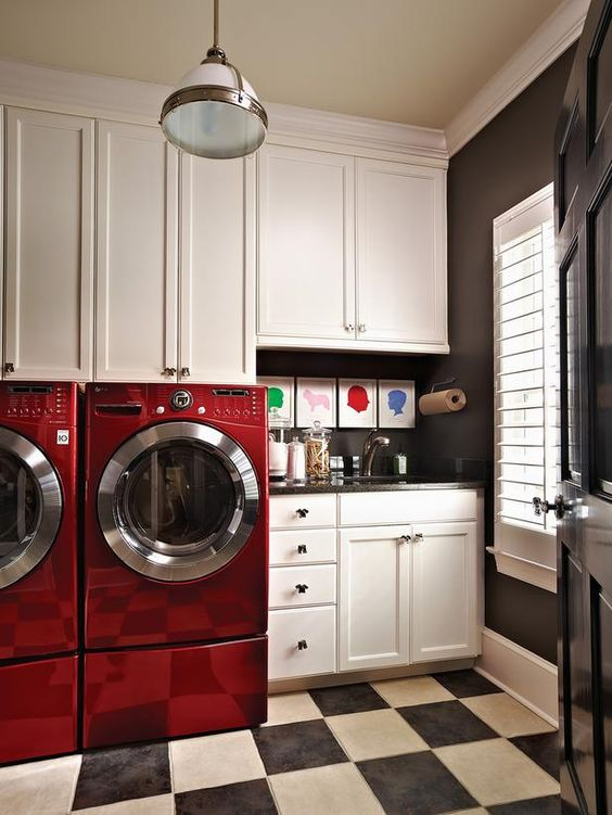 Retro modern laundry wih red washing machines